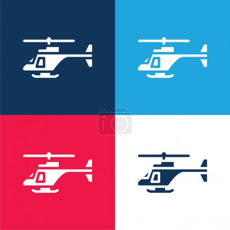 Illustration for Army Helicopter blue and red four color minimal icon set - Royalty Free Image
