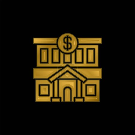 Photo for Bank gold plated metalic icon or logo vector - Royalty Free Image