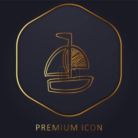 Boat Hand Drawn Toy golden line premium logo or icon