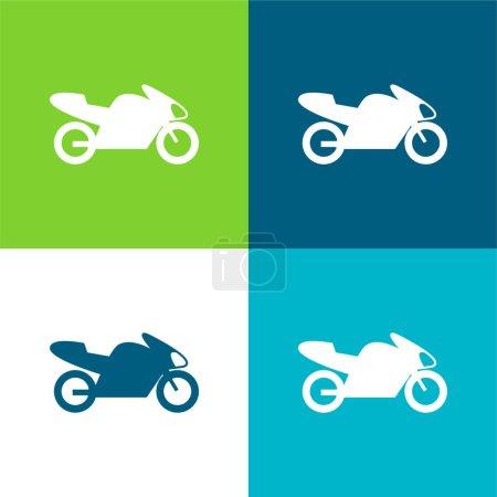 Illustration pour Vélo avec moteur, symbole d'interface d'IOS 7 Ensemble plat d'icône minimal de quatre couleurs - image libre de droit