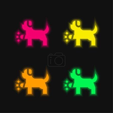 Animal four color glowing neon vector icon
