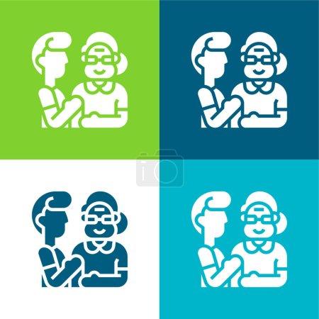 Beneficiary Flat four color minimal icon set