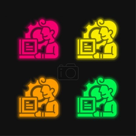 Illustration pour Application icône vectorielle néon éclatante à quatre couleurs - image libre de droit