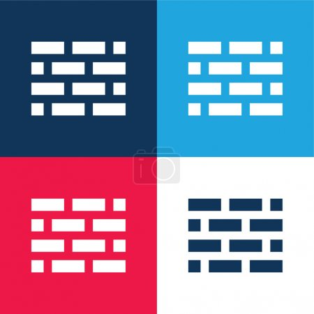 Illustration pour Brickwall bleu et rouge quatre couleurs minimum jeu d'icônes - image libre de droit