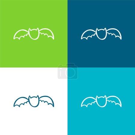 Bat Outline Flat four color minimal icon set