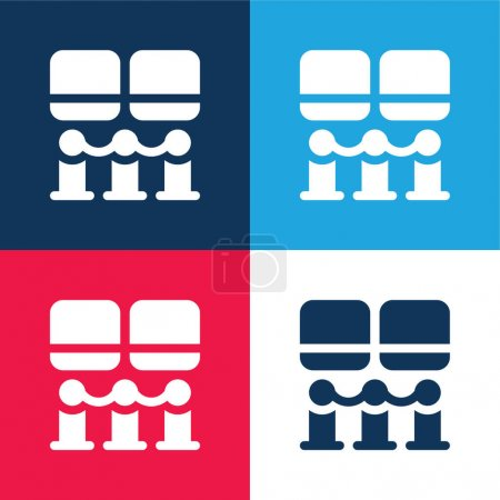 Illustration for Art Museum blue and red four color minimal icon set - Royalty Free Image