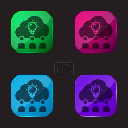 Illustration for Brainstorm four color glass button icon - Royalty Free Image