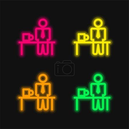 Illustration pour Temps de pause quatre couleur brillant icône vectorielle néon - image libre de droit