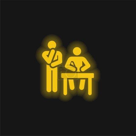 Illustration pour Brainstorming icône au néon jaune brillant - image libre de droit
