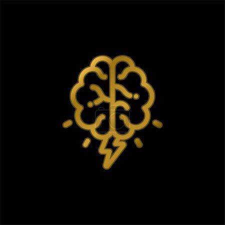 Illustration pour Cerveau plaqué or icône métallique ou logo vecteur - image libre de droit