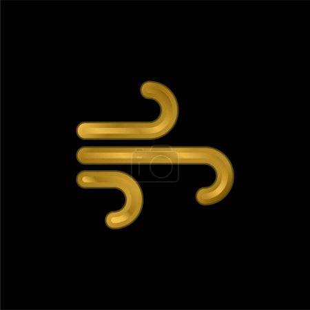 Air Element gold plated metalic icon or logo vector