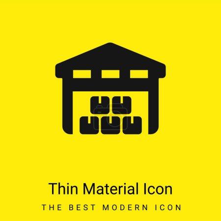 Photo pour Boîtes Piles stockées à l'intérieur d'un garage pour la livraison minime icône de matériau jaune vif - image libre de droit