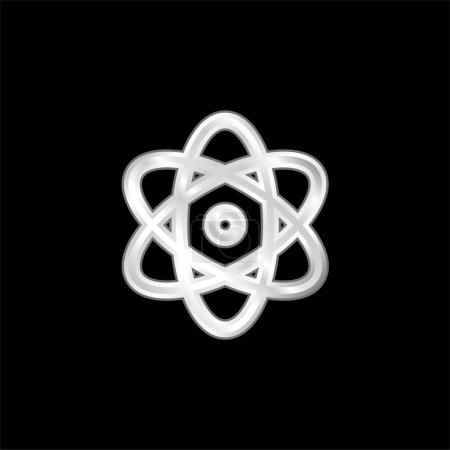 Photo pour Icône métallique argentée Énergie atomique - image libre de droit
