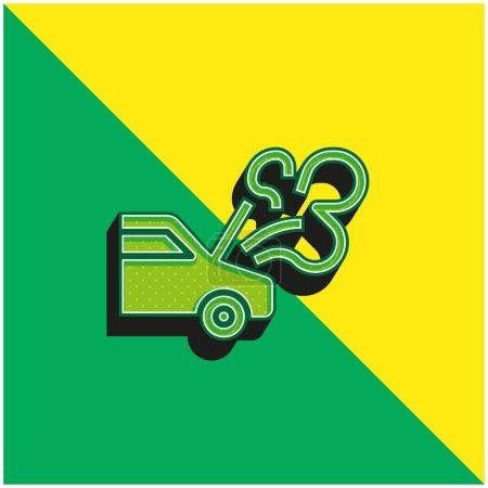 Illustration pour Ventilation Logo vectoriel 3D moderne vert et jaune - image libre de droit