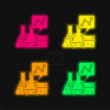 Photo for Analytics four color glowing neon vector icon - Royalty Free Image