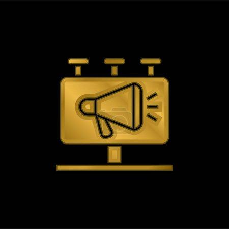 Illustration pour Plaque d'affichage plaqué or icône métallique ou logo vecteur - image libre de droit