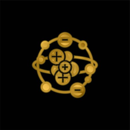 Illustration for Atom gold plated metalic icon or logo vector - Royalty Free Image