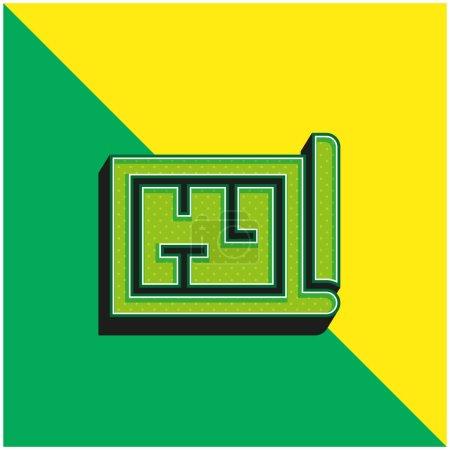 Architecture Logo vectoriel 3D moderne vert et jaune