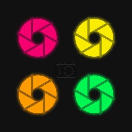 Illustration pour Ouverture quatre couleurs rougeoyantes icône vectorielle néon - image libre de droit