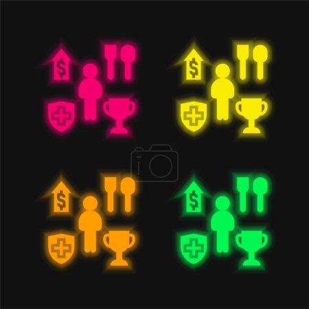 Illustration pour Bénéficiez de quatre couleurs rougeoyantes icône vectorielle néon - image libre de droit