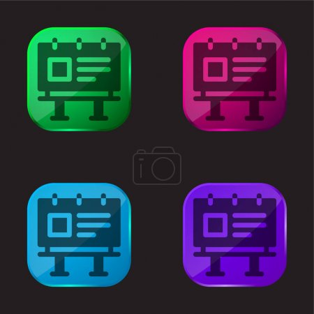 Illustration for Billboard four color glass button icon - Royalty Free Image