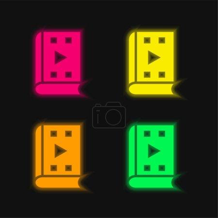Photo pour Livre audio quatre couleurs rougeoyantes icône vectorielle néon - image libre de droit
