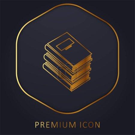 Photo pour Livres pile pour l'éducation ligne d'or logo premium ou icône - image libre de droit