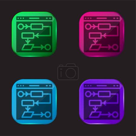 Illustration pour Algorithme icône bouton en verre quatre couleurs - image libre de droit