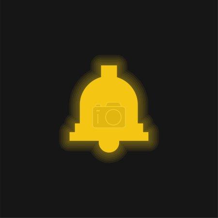 Illustration pour Icône néon jaune cloche - image libre de droit