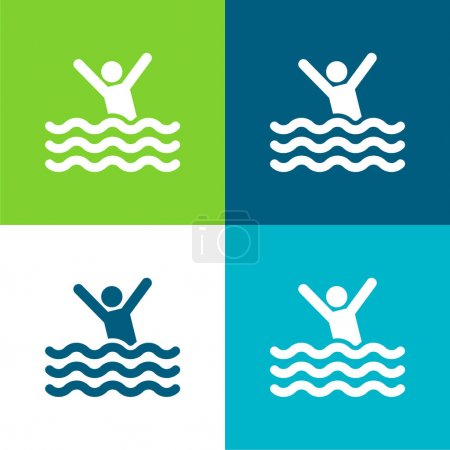 Illustration for Beach Flat four color minimal icon set - Royalty Free Image