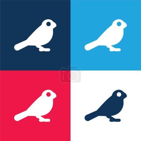 Photo pour Ensemble d'icônes minimes bleu oiseau et rouge quatre couleurs - image libre de droit