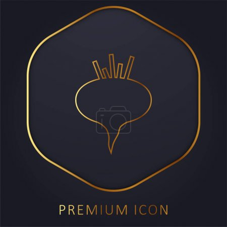Illustration for Beetroot golden line premium logo or icon - Royalty Free Image