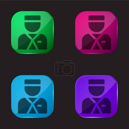 Illustration for Bellboy four color glass button icon - Royalty Free Image