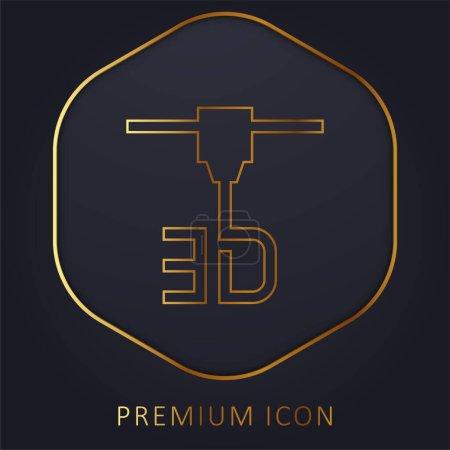Impresora 3d línea de oro logotipo premium o icono