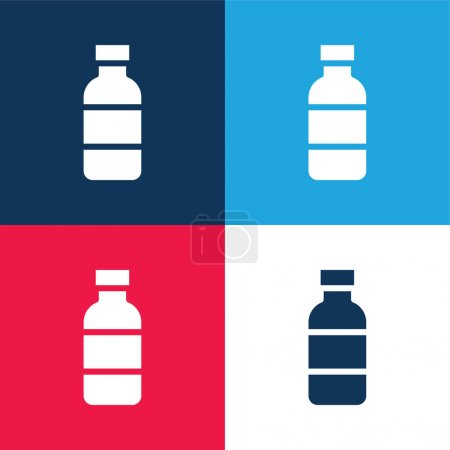 Illustration for Bottle blue and red four color minimal icon set - Royalty Free Image
