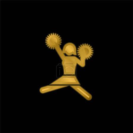 American Football Cheerleader Skocz złoty metaliczna ikona lub wektor logo
