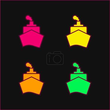 Barco de la vista frontal de cuatro colores brillante icono de vectores de neón