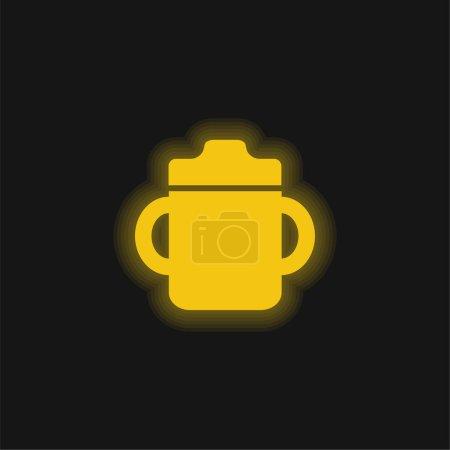 Photo pour Bébé bouteille à boire avec poignée sur les deux côtés jaune brillant icône néon - image libre de droit