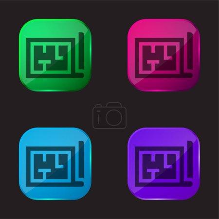 Architecture icône bouton en verre quatre couleurs