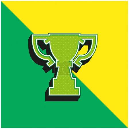 Award Trophy Cup Silhouette von Big Size Grünes und gelbes modernes 3D-Vektor-Symbol-Logo