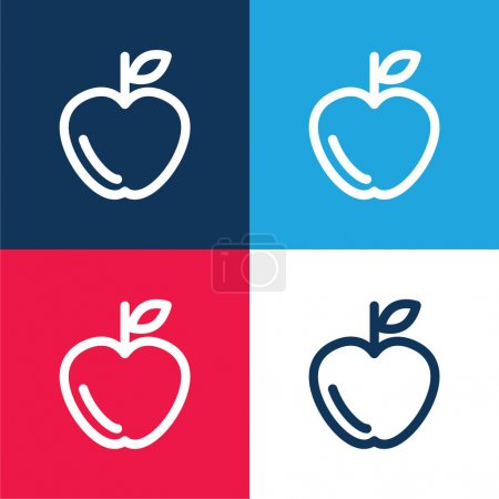 Apple Outline blue and red four color minimal icon set