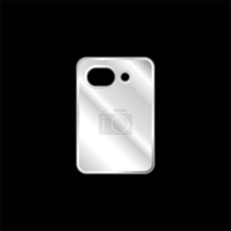 Photo pour Caméra arrière argent plaqué icône métallique - image libre de droit