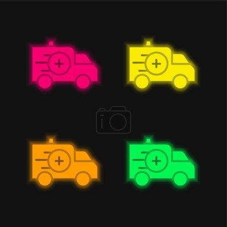 Illustration pour Ambulance quatre couleur brillant icône vectorielle néon - image libre de droit