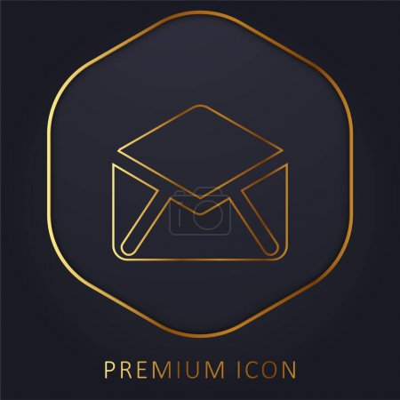 Black Open Envelope Back golden line premium logo or icon