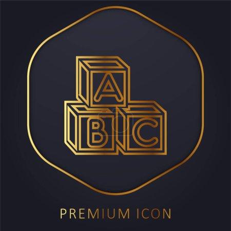 Illustration pour Baby Abc Cubes ligne d'or logo premium ou icône - image libre de droit