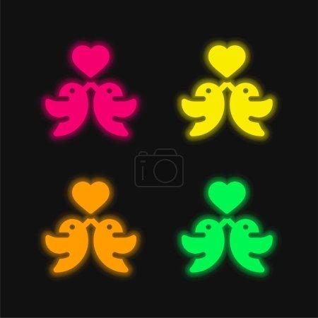 Illustration pour Oiseaux quatre couleurs brillant icône vectorielle néon - image libre de droit
