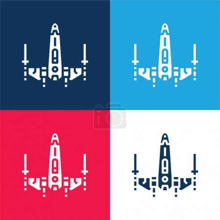 Battleship blue and red four color minimal icon set