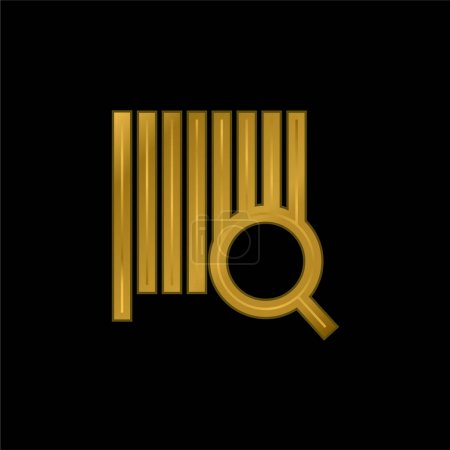 Illustration for Bars Code Search gold plated metalic icon or logo vector - Royalty Free Image