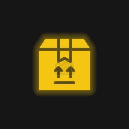 Photo pour Boîte jaune brillant icône néon - image libre de droit