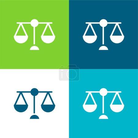 Illustration pour Balance Scale Ensemble d'icônes minimal plat à quatre couleurs - image libre de droit